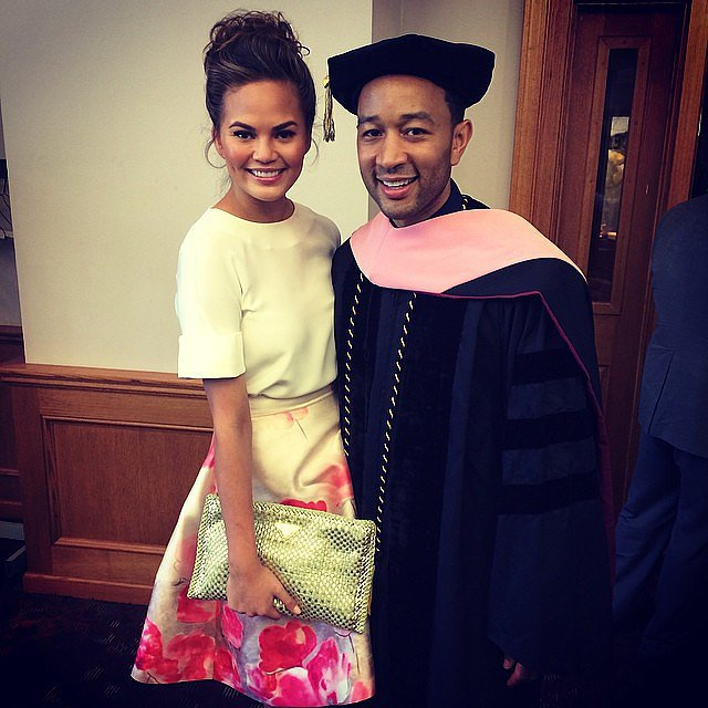 Chrissy Teigen and John Legend celebrated his honorary doctorate. Source: Instagram user chrissyteigen