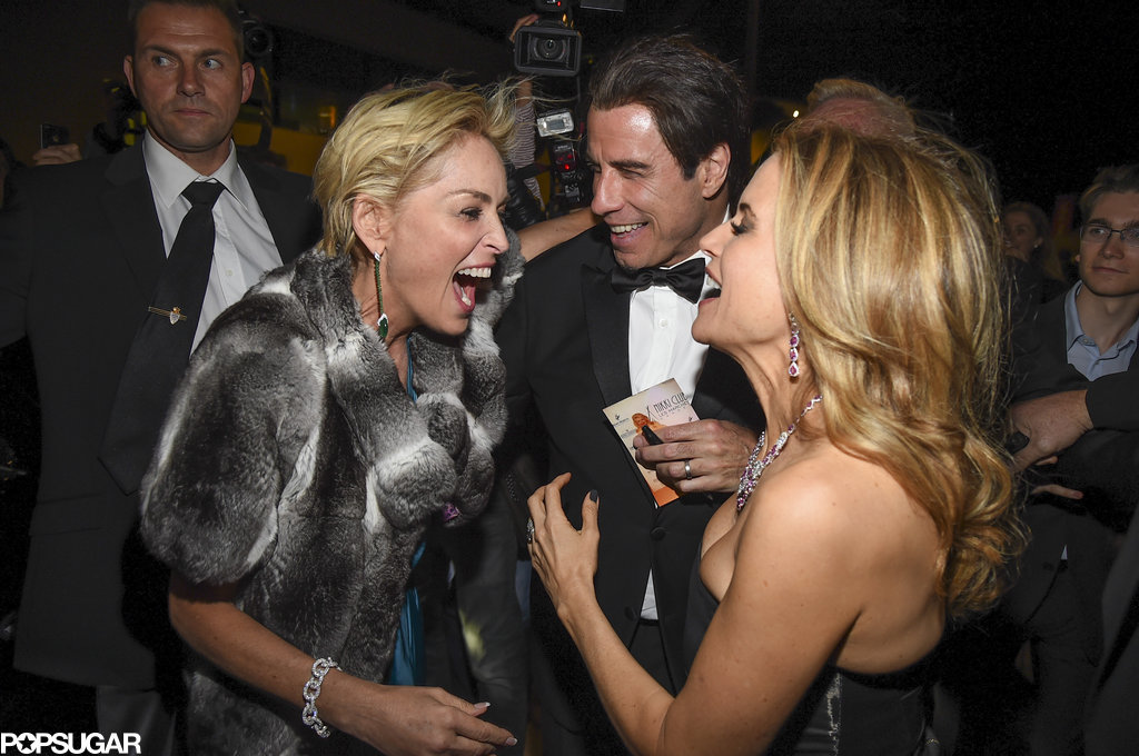 Sharon Stone laughed with John Travolta and Kelly Preston.