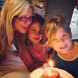 Tori Spelling celebrated her birthday with her two eldest kids, Liam and Stella McDermott, and a doughnut. Source: Instagram user torianddean