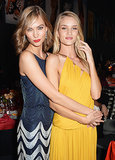 Karlie Kloss and Rosie Huntington-Whiteley met up at the amfAR Gala.
