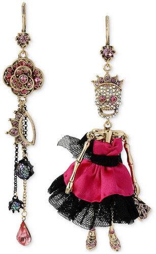 Betsey Johnson Gold-Tone Skull Prom Girl and Rose Mismatch Earrings