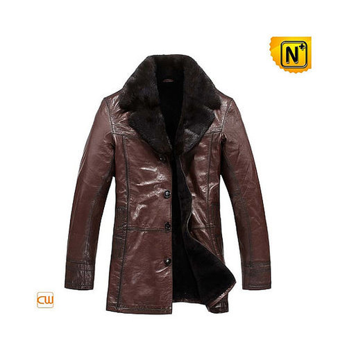 Mens Sheepskin Leather Coat Fur Lined CW819466