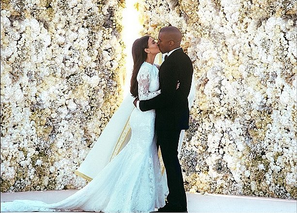 Kim Kardashian Weds Kanye West With Long Hair