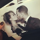 Chrissy Teigen and John Legend hit the photo booth at Kim Kardashian and Kanye West's wedding. Source: Instagram user chrissyteigen