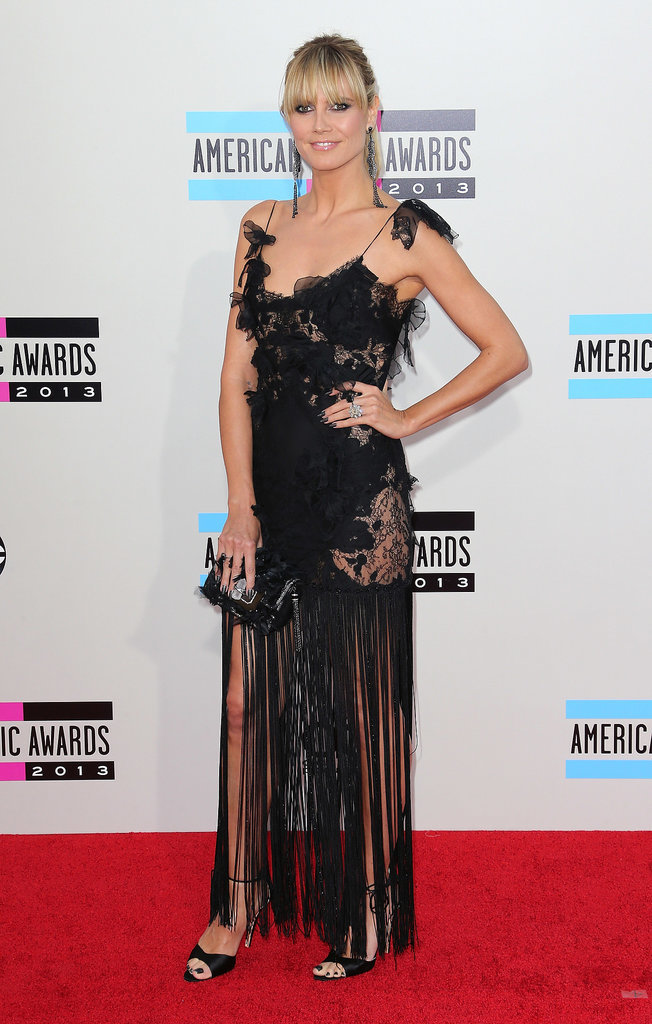Heidi Klum in a Black Marchesa at the 2013 American Music Awards