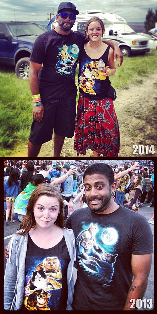 """I ran into this girl two years in a row, at Sasquatch, both times we were both wearing our triple cat shirts."" Source: Imgur user CatMaster3000"
