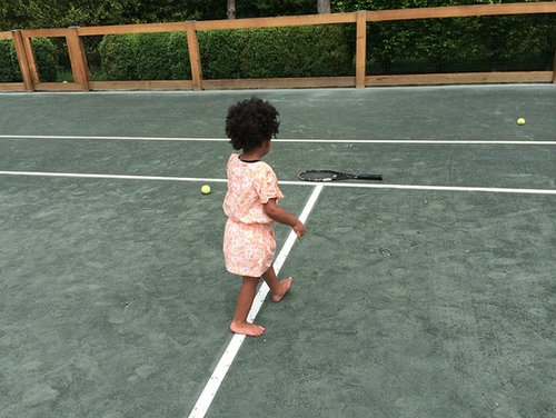 Blue Carter looked ready to practice her forehand on the tennis court. Source: Beyonce.com