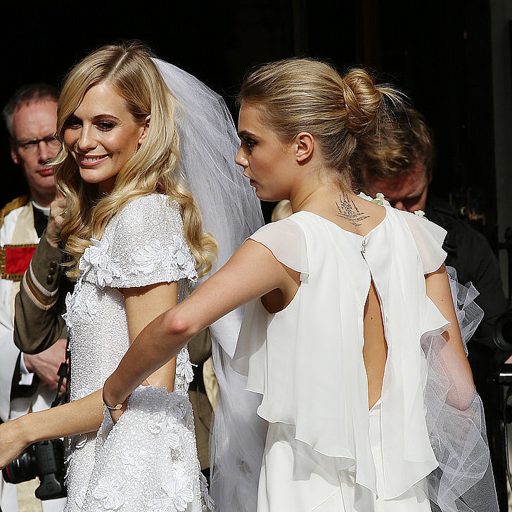 Models strive to look their best each time they grace the catwalk, and their trip down the wedding aisle is no different. Most recently, Poppy Delevingne tied the knot with her bridesmaid sister, Cara Delevingne, right by her side. If you can't get enough of the model-brides, check out POPSUGAR Fashion's roundup of 14 wedding looks from our favorite style stars.