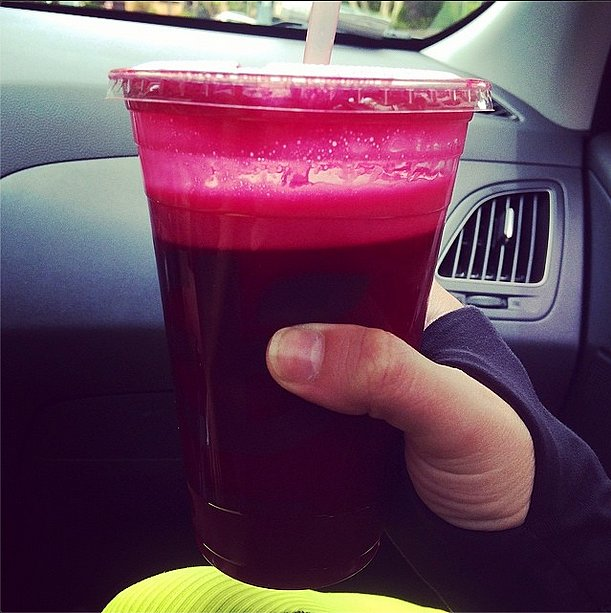 Lea Michele knows there's nothing like a large cup of fresh-pressed juice to keep you going. Source: Instagram user leamichele