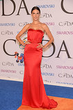 Alessandra Ambrosio posed in a red gown.