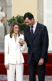 The couple smiled from ear to ear while showing off Letizia's engagement ring during their official engagement announcement in November 2003.