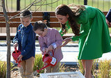 In April 2014, Kate helped a child water a tree during a visit to Australia's National Arboretum.