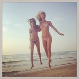 Bar and a friend jumped for joy on the beach in May 2014. Source: Instagram user barrefaeli