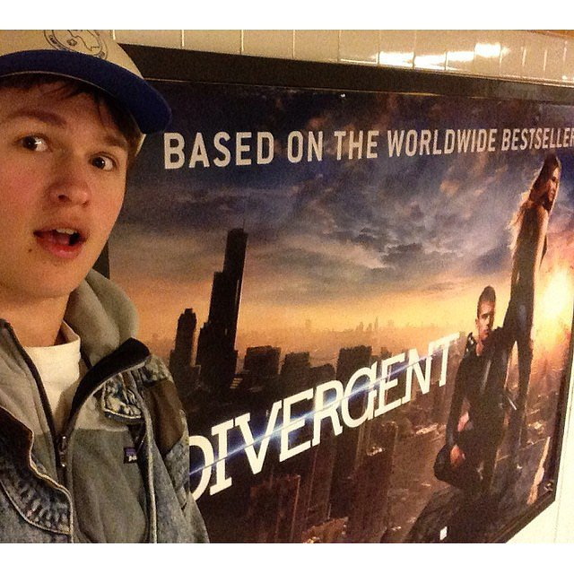 He also takes photos with his movie posters in the subway.