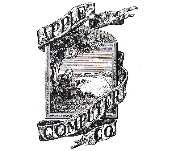 Today's iconic logo looks very different from the company's original style. The very first Apple logo featured Sir Isaac Newton sitting under an apple tree. Source: WikiCommons