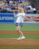 Elle Fanning looked liked she pitched a no-hitter at the LA Dodgers game in June 2014.