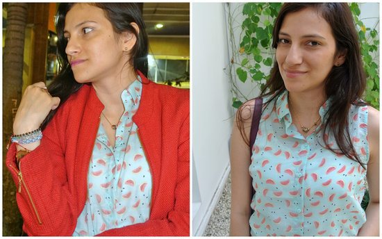 Watermelon print shirt and accessories #ootd #JFashionBlog