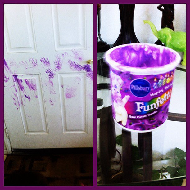 Containers of Purple Frosting (and Doors)