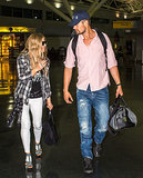 Fergie and Josh Duhamel shared a sweet moment at JFK on Monday.