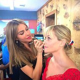 Sofia Vergara did Reese Witherspoon's makeup on set. Source: Instagram user reesewitherspoon