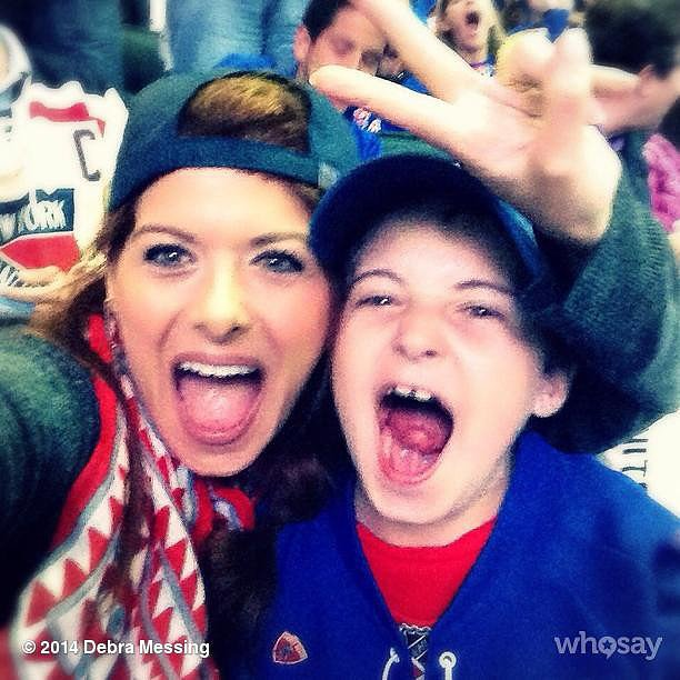 Debra Messing and Roman Zelman got a little crazy while routing for the Rangers in the Stanley Cup. Source: Instagram user therealdebramessing