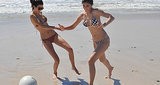 Kendall and Kylie played around in the sand.  Source: Casa Aramara
