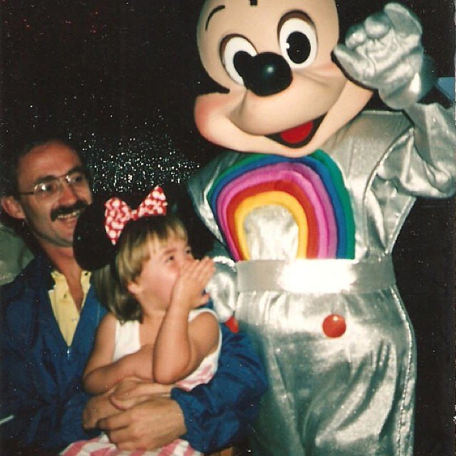 "Kate Spade was a giggly kid in her father's arms when this picture was taken at Walt Disney World, their ""favorite place.""  Source: Instagram user katespadeny"