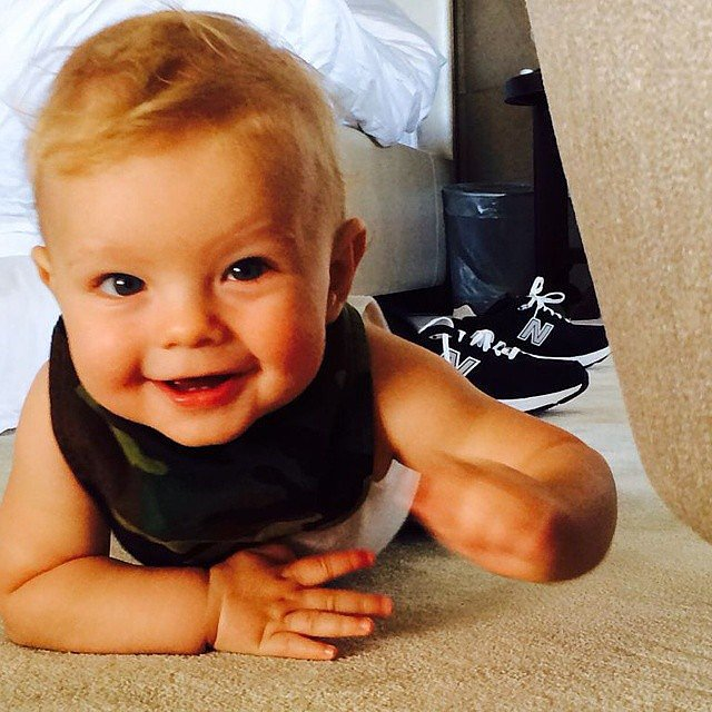 "Josh Duhamel snapped a shot of his little crawler on Father's Day, writing, ""Proud to be this kid's dad. Happy Father's Day to all the dads out there."" Source: Instagram user joshduhamel"