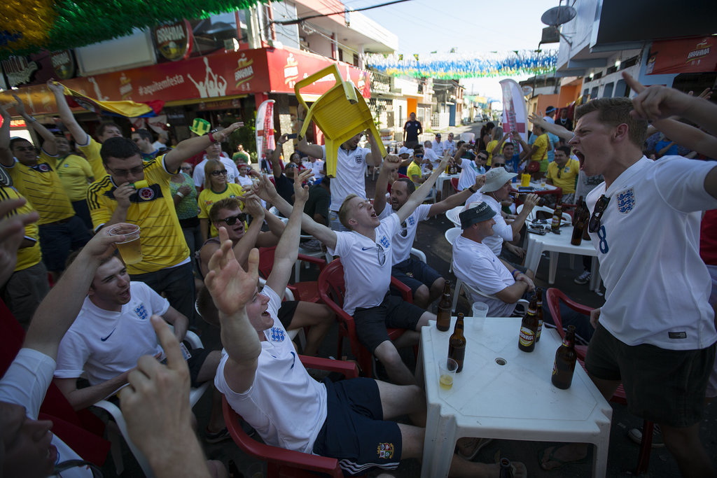 In Manaus, Brazil, fans of England gathered to sing and cheer ahead of their team's game against Italy.