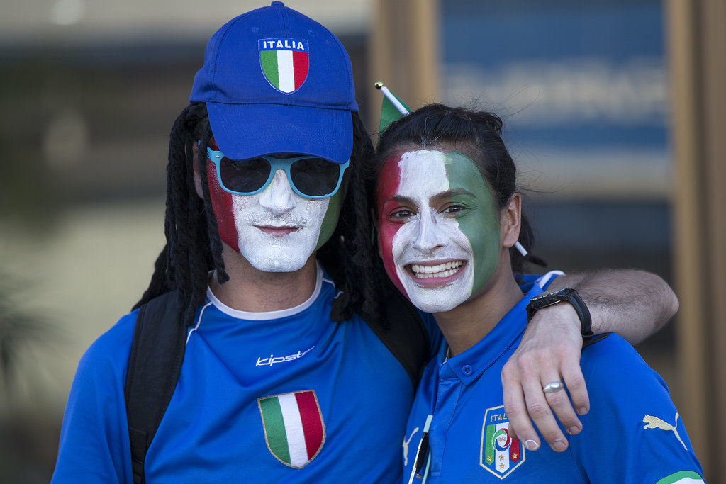 Italy fans painted their faces for the country's game against England.