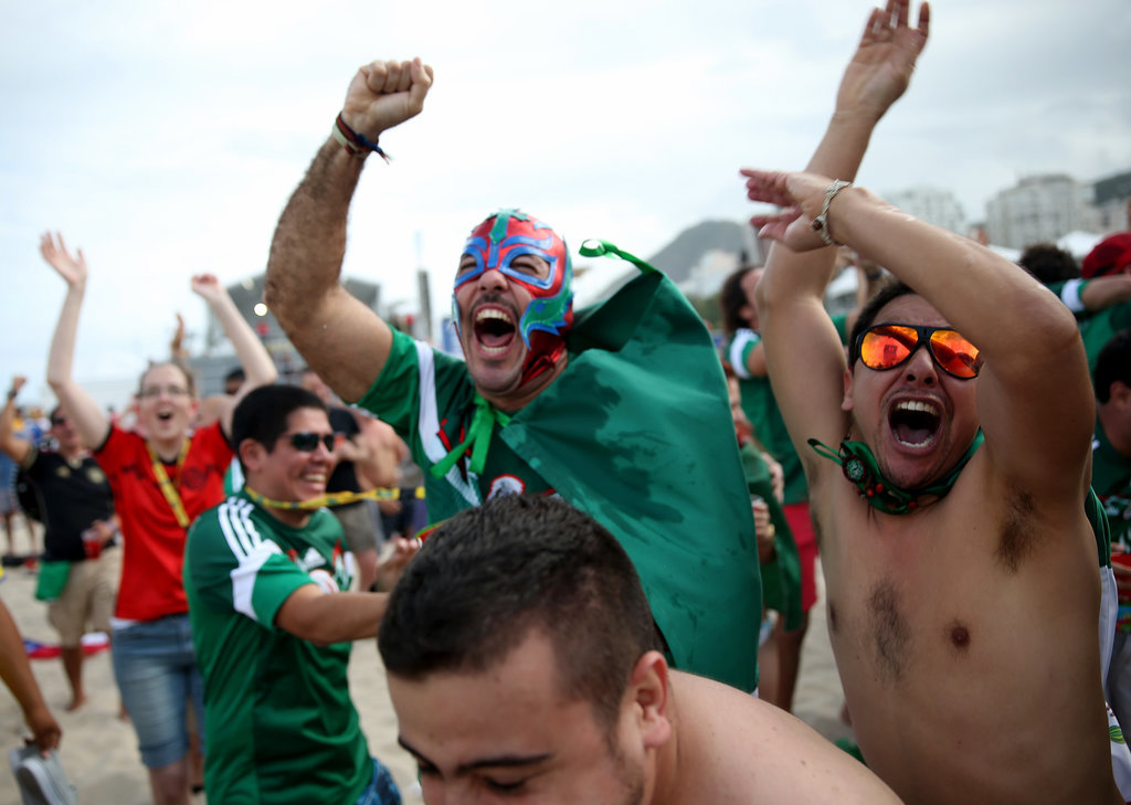 Fans of Mexico threw their hands up in the air when their team scored against Cameroon.