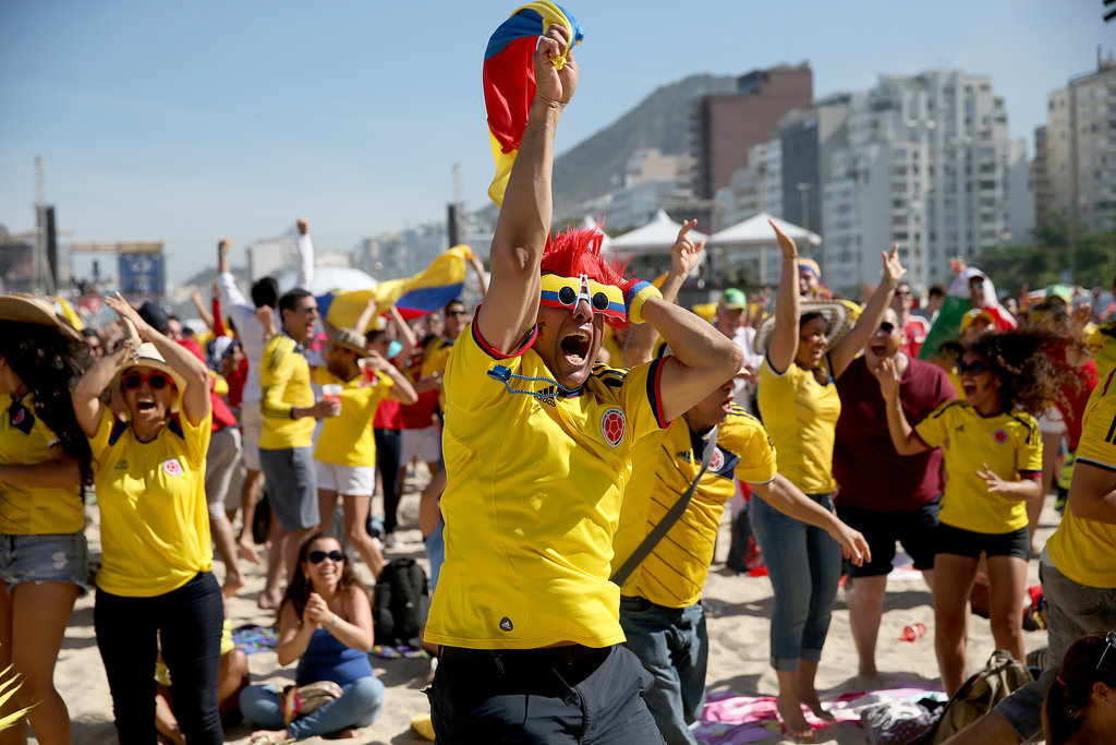 Colombia fans in Rio de Janeiro, Brazil, screamed and cheered when their team scored a goal.