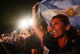 A woman cheered as she rooted for Argentina.