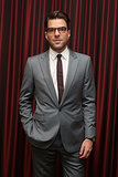 Zachary Quinto rocked glasses at the event.