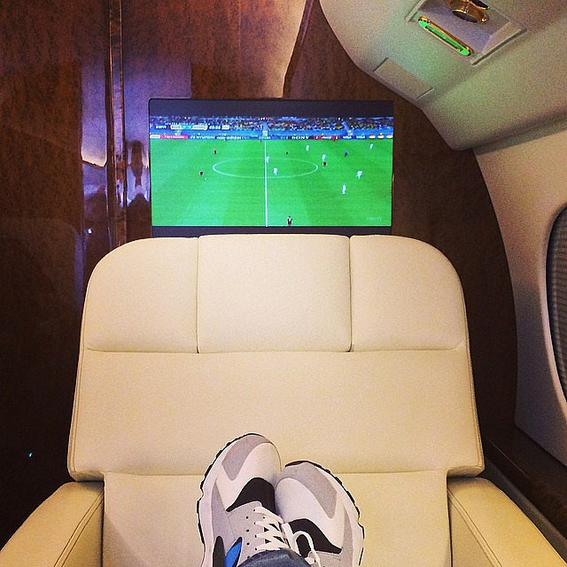 In a classic baller move, Drake watched the World Cup from his private plane. Source: Instagram user champagnepapi