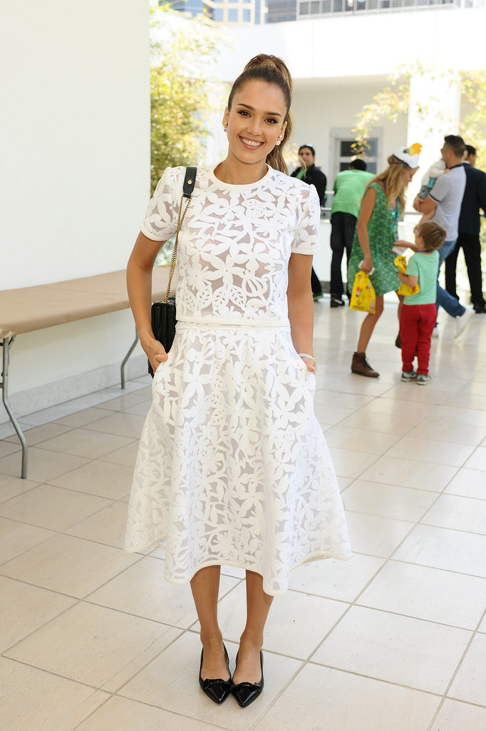 Jessica Alba in Floral Tanya Taylor Top and Skirt