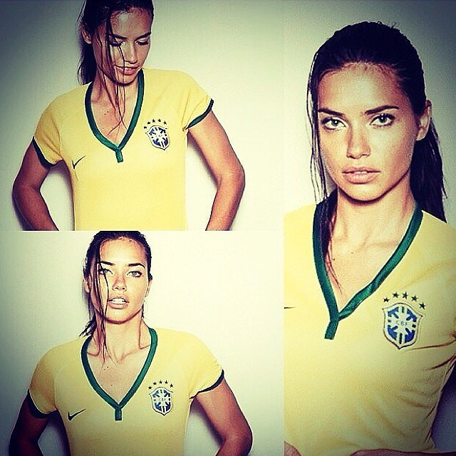"Adriana Lima shared this series of snaps, saying, ""Let's go Brazil! Let's go my gold boys!"" Source: Instagram user adrianalima"