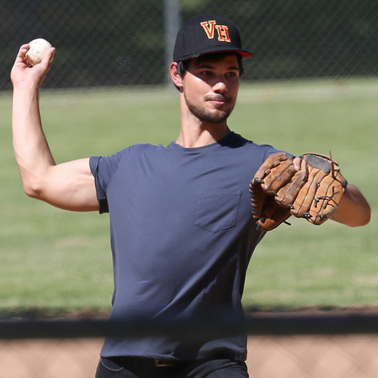 Taylor Lautner Playing Baseball 2014 | Pictures