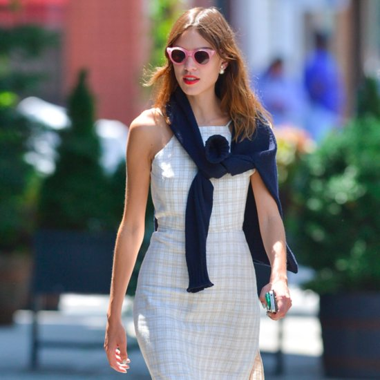Alexa Chung Wearing White Dress and Pink Sunglasses