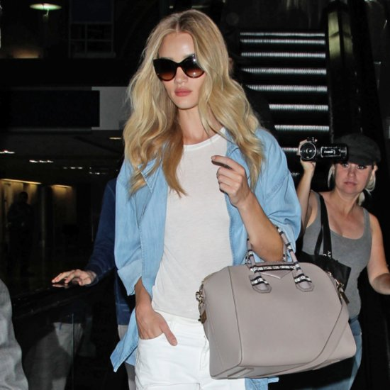 Rosie Huntington-Whiteley Wearing Denim Shirt and White Jean