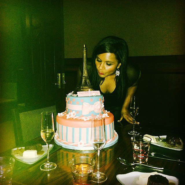Mindy Kaling celebrated her birthday in Las Vegas with a giant cake. Source: Instagram user mindykaling