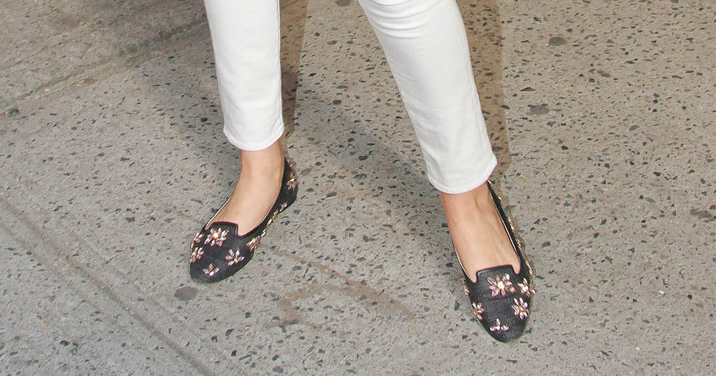 Kate Upton's Floral-Embellished Loafers