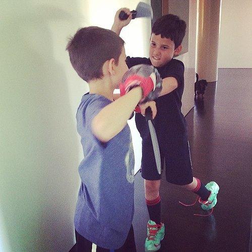 Shepherd and Julian Seinfeld had a little boxing/knife-throwing fun. Source: Instagram user jessseinfeld