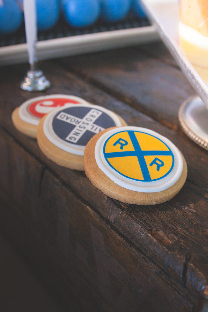 Keren cited the sugar cookies printed with train motifs as a kiddie favorite at the dessert table. Source:  Clay Williams and Alex Nirenberg for Keren Precel Events