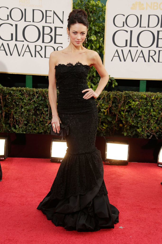 Olga Kurylenko is a fan of ebony mermaid gowns, donning one once again at the 70th annual Golden Globe Awards.