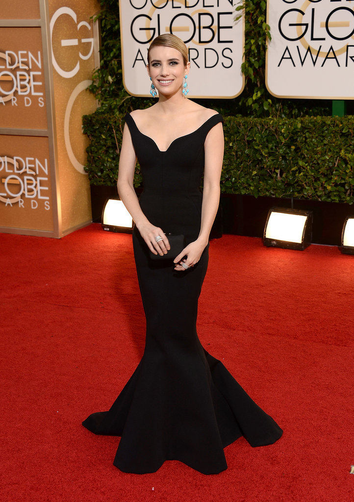 Emma Roberts chose a striking black mermaid dress by Lanvin for the 2014 Golden Globes.