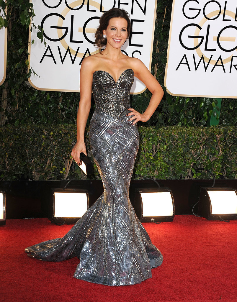 Will Kate Beckinsale ever be seen in anything other than a breathtaking mermaid-cut gown? We hope not! This gorgeous, sparkling chrome gown is a Zuhair Murad creation.