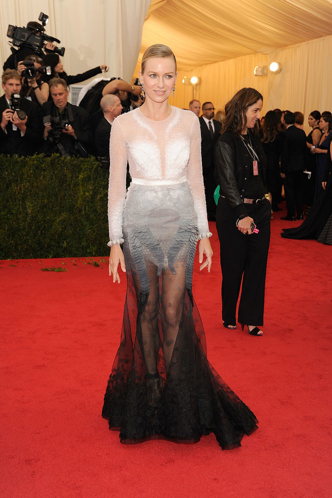 Naomi Watts stepped out at the 2014 Met Ball in this Givenchy couture dress, which featured fading embroidery, an open back, and a sheer black skirt. We love this unique choice of fishtail.