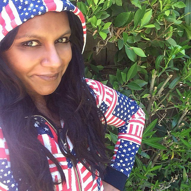 Mindy Kaling covered up in a sweatshirt with stars and stripes. Source: Instagram user mindykaling