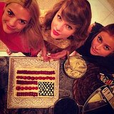 Jaime, Taylor, and Amanda took a snap with their patriotic treat.  Source: Instagram user taylorswift